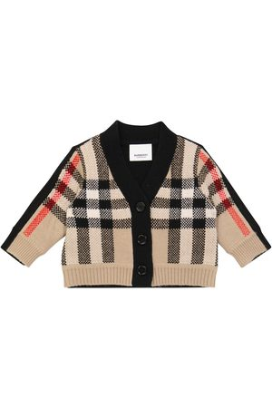 Burberry Hırkalar - Baby checked wool and cashmere cardigan