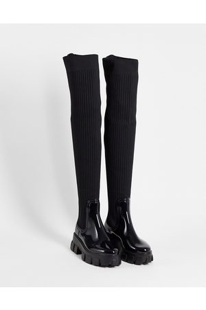 ASOS Gravity over the knee wellie boots in black