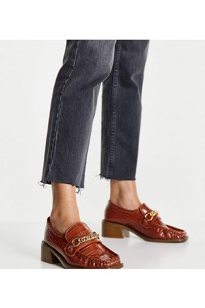 ASOS Wide Fit Mimi square toe loafers in tan-Brown