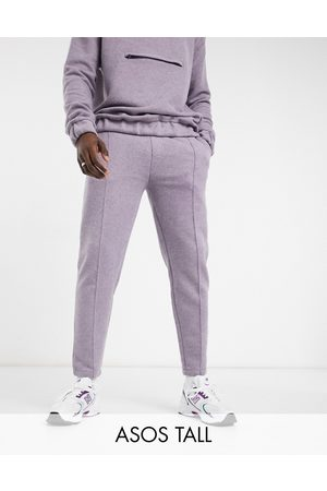 ASOS DESIGN Tall smart co-ord tapered joggers with fixed hem & pin tucks in boiled wool look texture-Purple