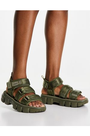 Shaka Neo Bungy SF flat sandals with double strap in khaki-Green