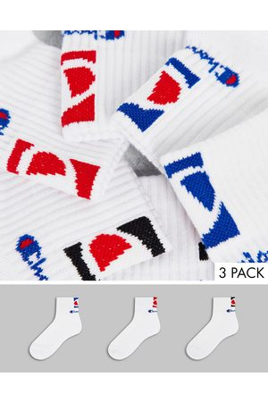 Champion 3 pack ankle sock with back print in blue, red and black-White