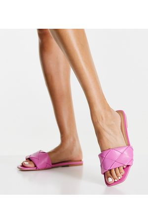 ASOS DESIGN Wide Fit Forty woven flat sandals in pink