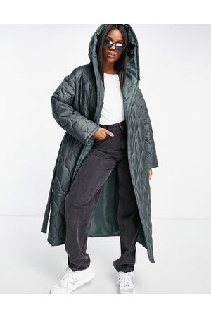 ASOS Onion quilted hooded wrap maxi coat in dark khaki-Green