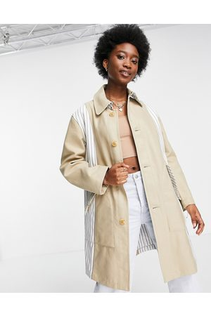 French Connection Striped tie waist coat in beige-Neutral