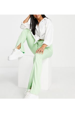 ASOS ASOS DESIGN Petite high waisted stretch skinny trouser with split front in pistachio-Green
