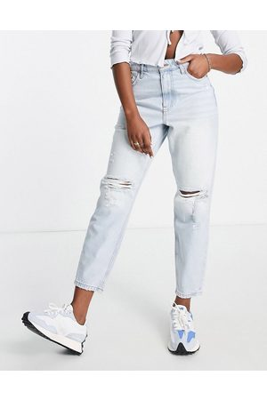 River Island Ripped knee mom jeans in light blue