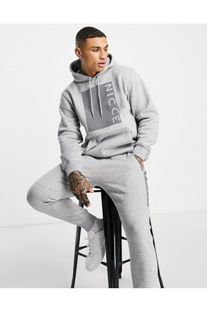 Nicce Cube reflective box print hoodie in grey