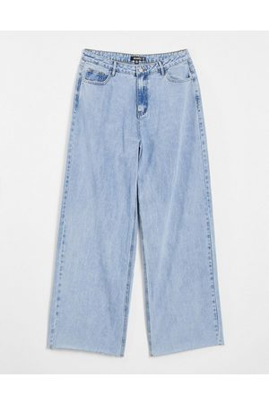 Missguided Recycled straight jean with raw hem in bleached blue