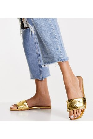 ASOS Wide Fit Forty woven flat sandals in gold