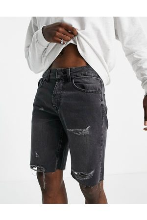 Only & Sons Erkek Şortlar - Denim shorts with raw hem and rips in washed black