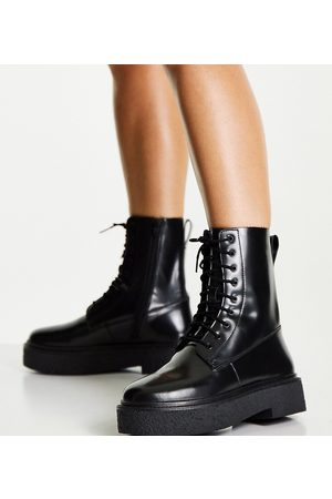 ASOS Wide Fit Acolade flat lace up boots in black