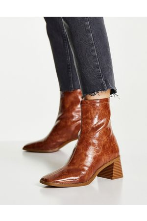 ASOS Raider mid-heel ankle boots in tan-Brown