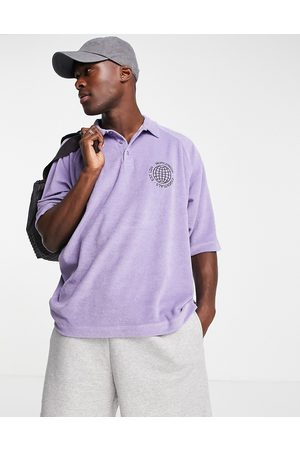 ASOS Relaxed polo t-shirt in purple towelling with chest embroidery-Blue