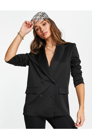 ASOS DESIGN Structured jersey double breasted blazer in black