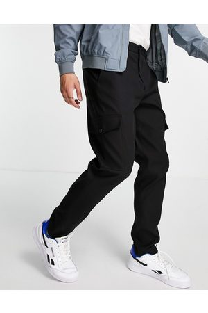 Selected Homme Slim tapered cargo trousers in black