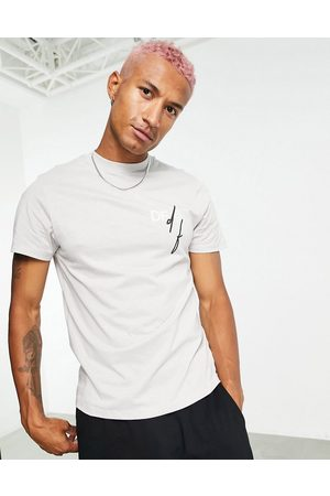 ASOS Dark Future T-shirt in grey violet with printed chest logo in organic cotton