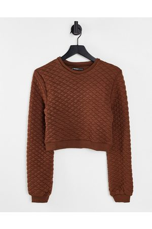 Threadbare Quilted sweater co-ord in chocolate brown