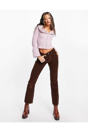 ASOS Low rise rigid flared jeans in chocolate cord-Brown