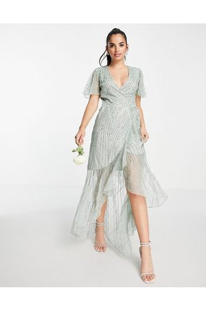 Frock And Frill Bridesmaids embellished wrap maxi dress in sage green