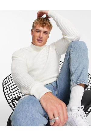 Threadbare Cotton ribbed turtle neck jumper in unbleached-Pink