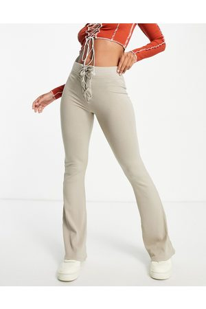 ASOS Rib kick flare trouser with lace up waist in taupe-Neutral