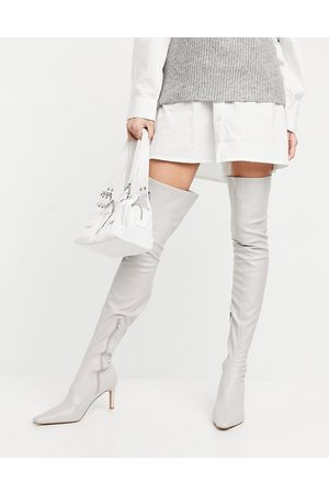 ASOS DESIGN Kaye stretch over the knee boots in off white
