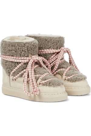 INUIKII Kids Shearling-trimmed suede boots