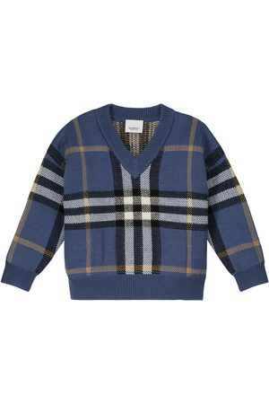Burberry Checked wool and cashmere intarsia sweater