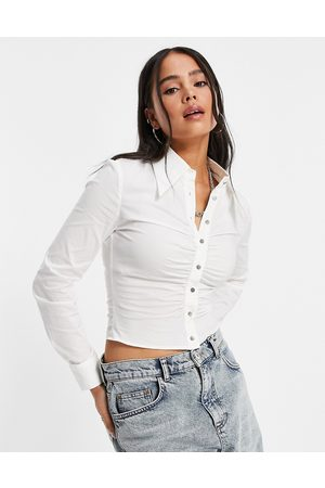 Urban Revivo Gathered front shirt in white
