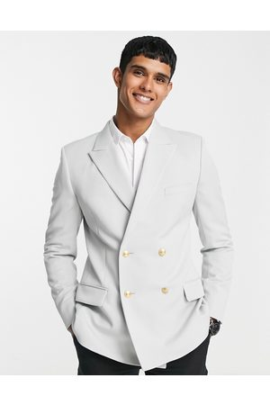 ASOS Wedding skinny blazer with gold buttons in ice grey