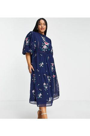 ASOS ASOS DESIGN Curve high neck dobby embroidered midi dress with lace trims in navy