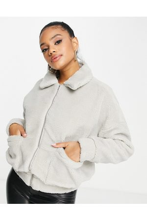 In The Style Faux fur bomber jacket in grey