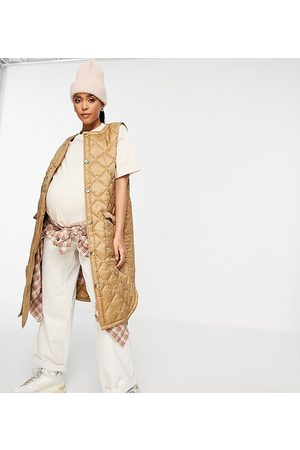 Mama Licious Kadın Yelekler - Mamalicious Maternity recycled longline quilted gilet in camel-Brown