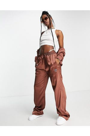adidas 2000s Luxe' satin wide leg trousers in brown with diamante logo