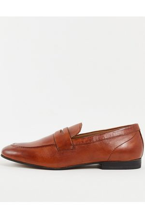 H by Hudson Bolton saddle Loafers in tan leather-Brown