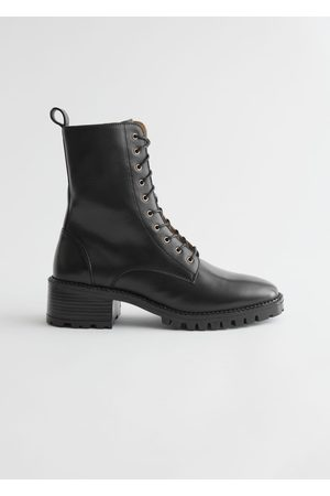 & OTHER STORIES Heeled Leather Utility Boots - Black