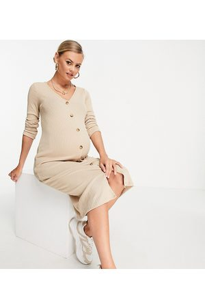 New Look Ribbed button through midi dress in oatmeal-Neutral