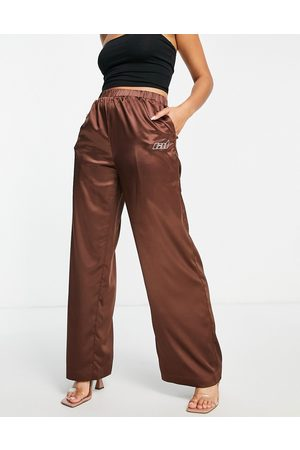 Criminal Damage Satin wide leg trousers co-ord in chocolate brown