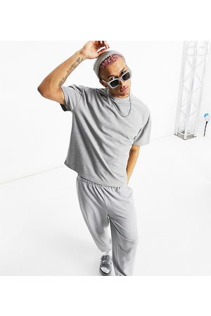 ASOS Co-ord oversized t-shirt in pique in grey marl