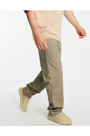 ASOS Relaxed chinos in washed khaki-Green