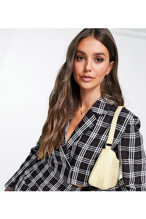 Pieces Exclusive cropped blazer co-ord in black check-Multi