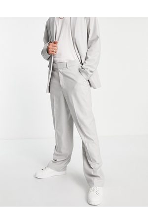 ASOS Wide leg suit trousers in grey micro texture