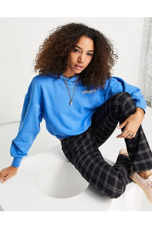 ONLY Organic cotton blend cropped hoodie co-ord in blue