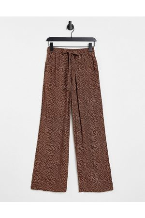 & OTHER STORIES Co-ord ditsy floral wide leg trousers in brown