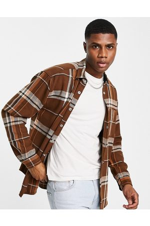 ASOS 90s oversized check shirt in brown wool mix