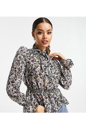 River Island Floral print pussybow blouse in purple-Black