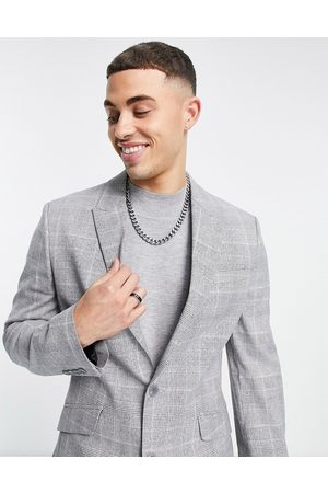 ASOS Skinny suit jacket with prince of wales check grey