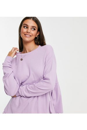 ASOS Tall oversized long sleeve waffle smock in lilac-Purple