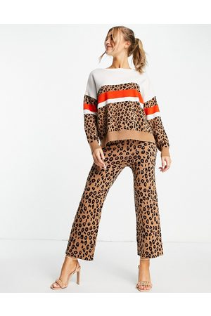 Never Fully Dressed Knitted wide leg trouser co-ord in leopard-Multi